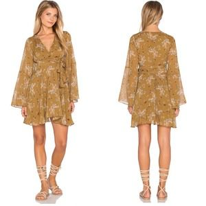 Free People NWT Lilou Floral Wrap Dress XS Toffee